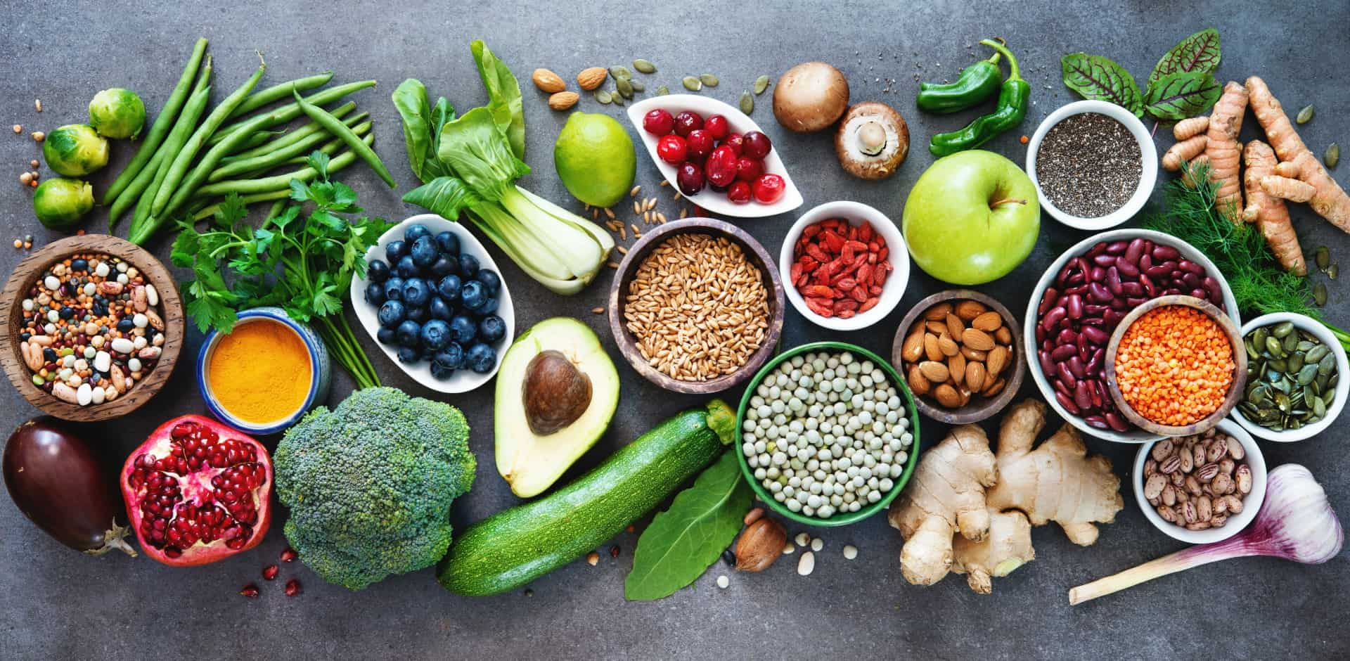 Vegetables, Beans, and Fruits